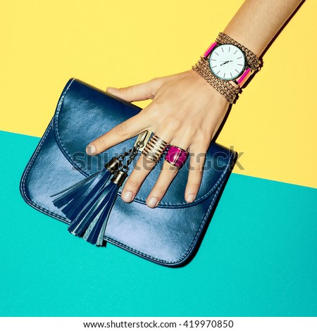 Shutterstock Bright Summer Fashion Accessories Ladies. Stylish Clutch and Jewelery.