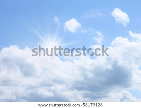 Bright summer sky with a sun