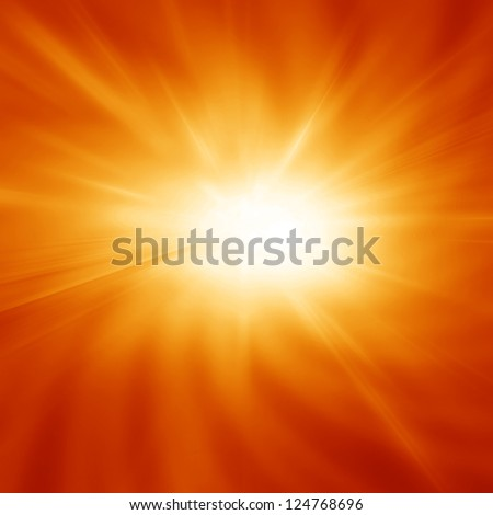 Bright summer sun on a orange and yellow background