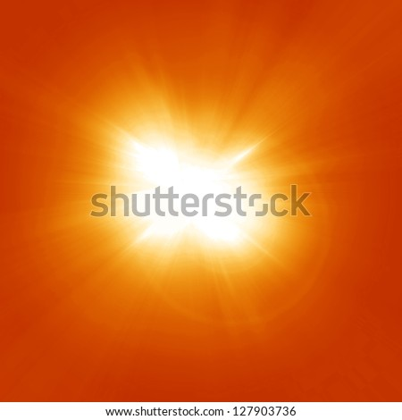 Bright summer sun on a orange and yellow background #127903736