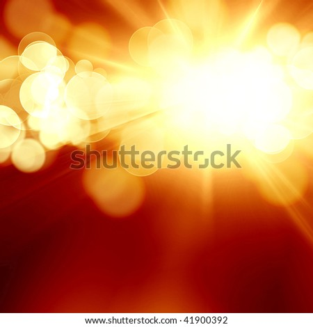 Bright Sun In A Dark Orange Background Stock Photo 41900392 ...