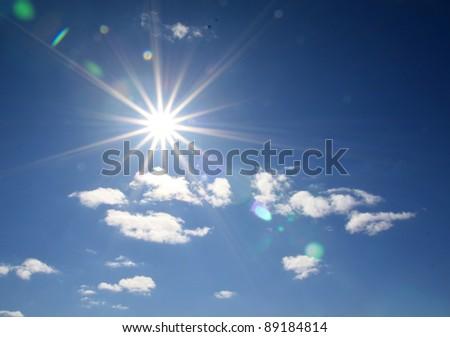 bright sun on cloudy sky