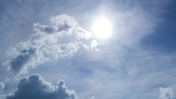 Bright sunlight VDO,  sunbeams, flares shining through clouds eye shape at midday, cloudscape on beautiful sunny blue sky background in tropical summer sun rays and solar energy