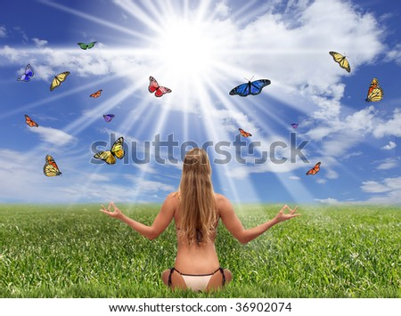 Bright Sunlit Field With a Woman and Butterflies