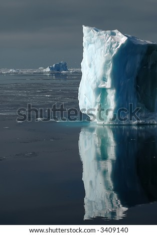 Bright sunlit side of an Antarctic iceberg. Icebergs and snow petrels in the background.