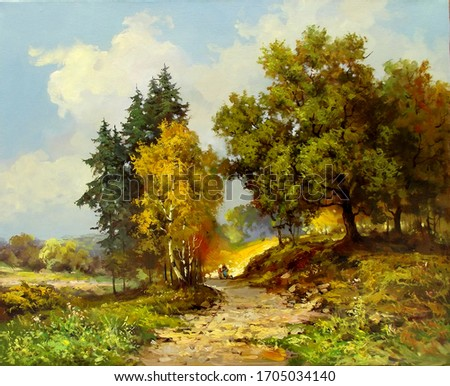 bright sunny autumn day with colorful trees,oil painting, fine art, road, park, trees, autumn, nature, landscape