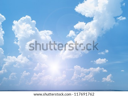 bright sunny sky with clouds