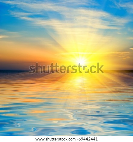 bright sunrise on a river