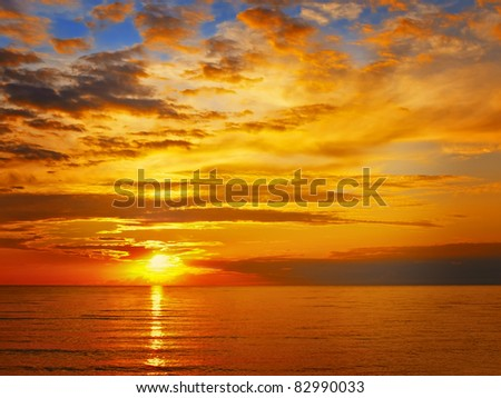 Bright sunset at the sea