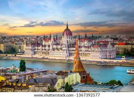 Bright sunset over famous landmarks in Budapest Stock fotó ©