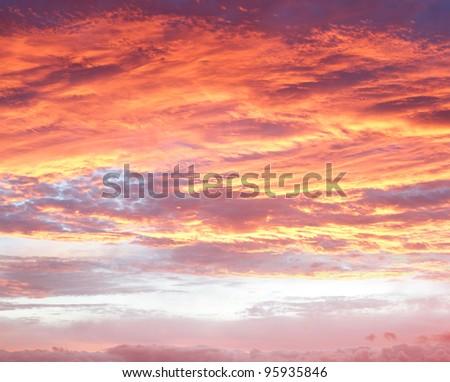 Bright sunset sky