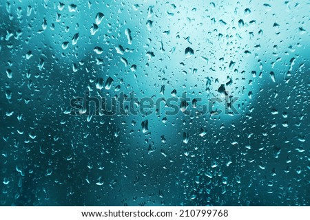 Bright texture of water drops on glass