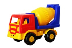 Bright toy concrete mixer isolated on white background