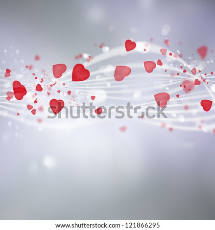 Bright valentine background with hearts and lights