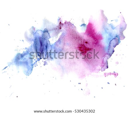 Bright watercolor blue-red stain drips. Abstract illustration on a white background. Banner for text, grunge element for decoration
