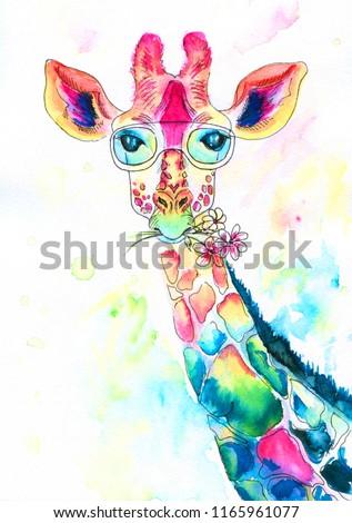 bright watercolor giraffe