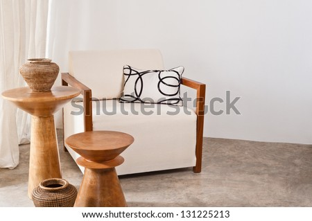 Bright white armchair in a living room