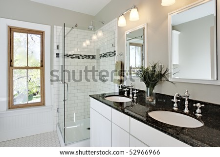 Bathroom Remodeling on Bright White Remodel Bathroom  Glass Shower And Granite Counters