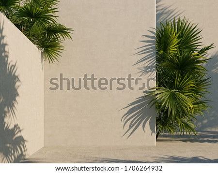 Bright white wall with green tropical leaves, sunlight with shadows. Summer, spring background. 3d rendering.