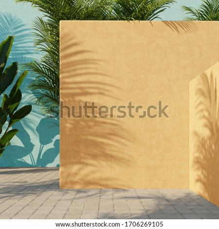 Bright yellow and turquoise painted walls with green tropical leaves, sunlight with shadows. Summer, spring background. 3d rendering. stock photo