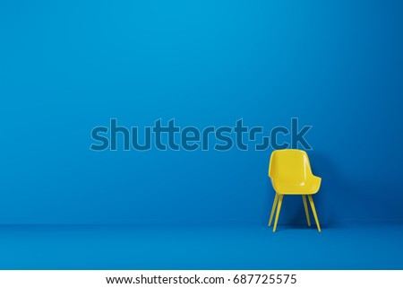 Bright yellow chair is standing in an empty blue room with a blue floor. Concept of minimalism. 3d rendering mock up