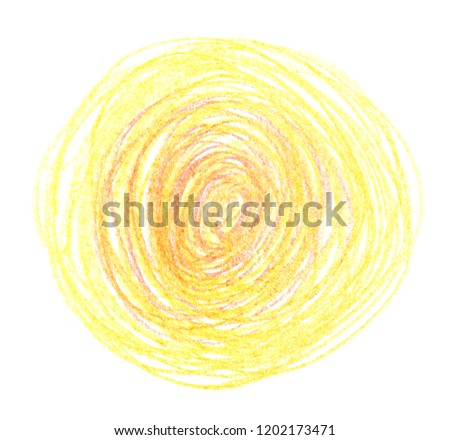 Bright yellow circle hand drawn with pencil on clean white background #1202173471