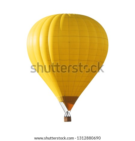 Bright yellow hot air balloon on white background