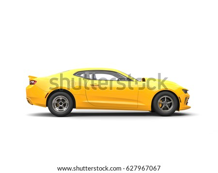 Bright Yellow Modern Muscle Car Side View 3d Render Ez Canvas