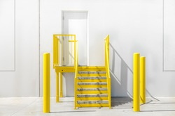 Bright yellow staircase