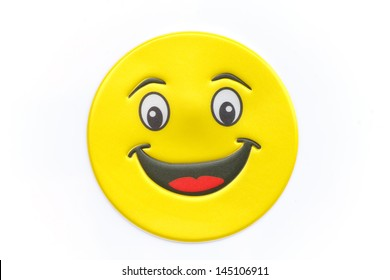 Stock Photo - Bright, yellow sticker with a smiley face