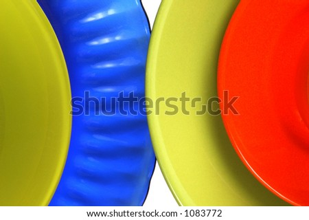 Brightly Colored Dishes On White Background. Stock Photo 1083772 ...