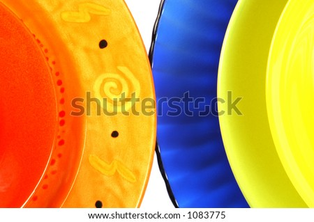 Brightly Colored Dishes On White Background. Please Note The ...