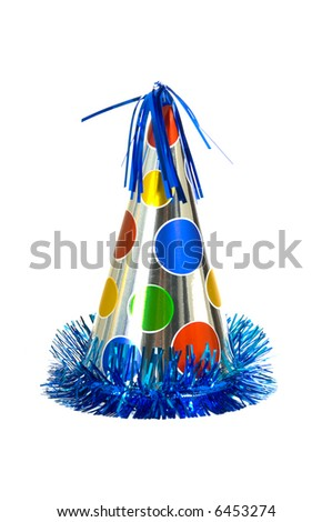 Brightly colored party hat on white background - stock photo