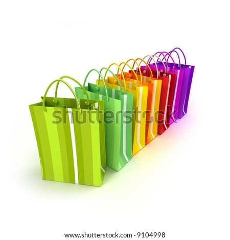 Brightly colored shopping bags in a row against a white background