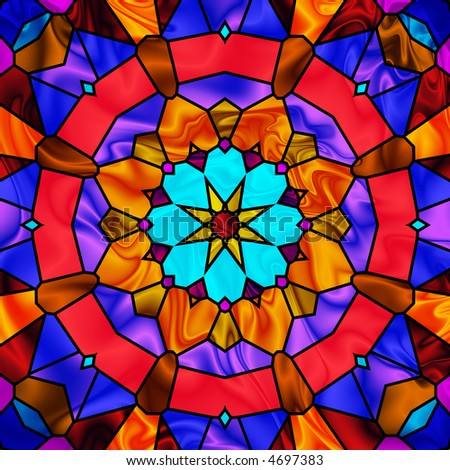 brightly colored stained glass kaleidoscope