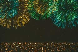 Brightly Colorful Fireworks on Particles background
