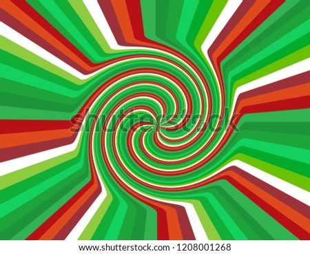 Brightly coloured abstract candy cane striped swirl inside a burst in red, green, and white.  Groovy, psychedelic Christmas background.