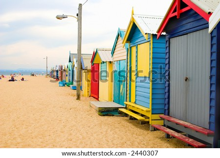 Brightly Coloured Beach Boxes