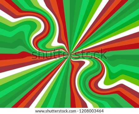 Brightly coloured candy cane striped perspective with swirls and waves in red, green, and white.  Groovy, psychedelic christmas background