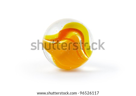 Brightly coloured glass marble isolated on white