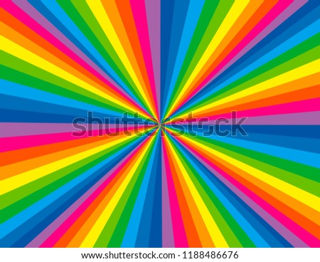 Brightly coloured rainbow perspective with concentration lines.  Groovy, psychedelic background.