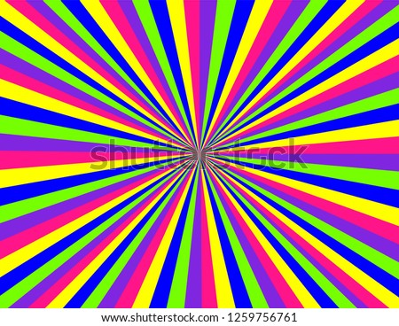 Brightly coloured stripes in neon green, pink, blue, purple, and yellow.  Perspective with concentration lines.  Groovy, psychedelic background.