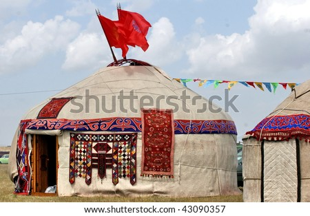brightly decorated yurts