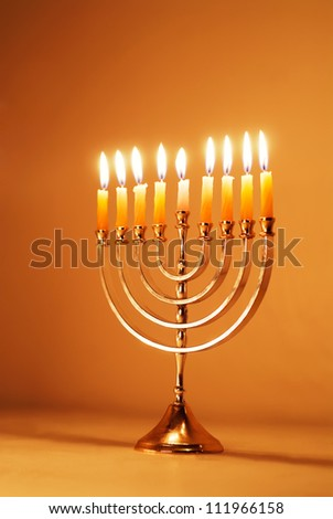 Brightly glowing Hanukkah menorah
