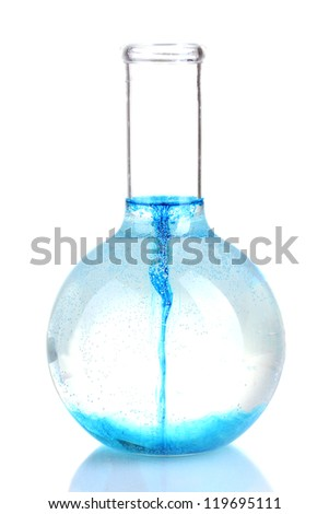 brightly ink in a flask with water isolated on white