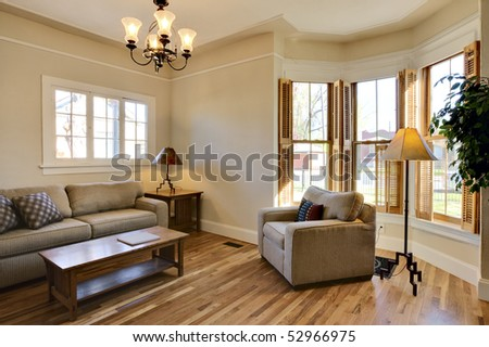 Brightly Lit Room Remodel Living Area Interior.