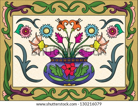 Brightly painted, stylized colorful vase of flowers, framed by stylized leaves.