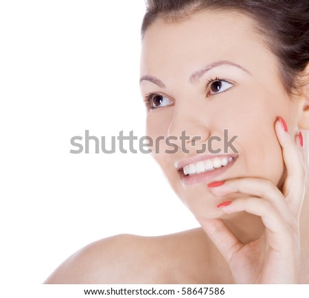 Brightly picture of smiling brunette over white