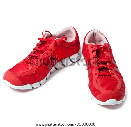 Brightly red trainers