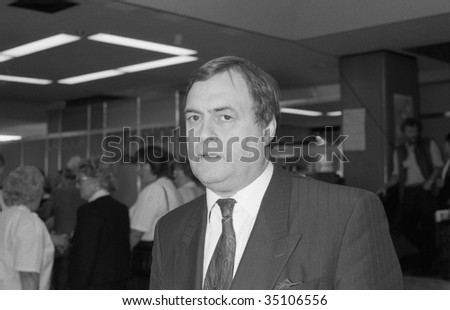 BRIGHTON, ENGLAND-OCTOBER 1: John Prescott, Deputy Leader of the Labour Party, visits the party conference on October 1, 1991 in Brighton, Sussex.